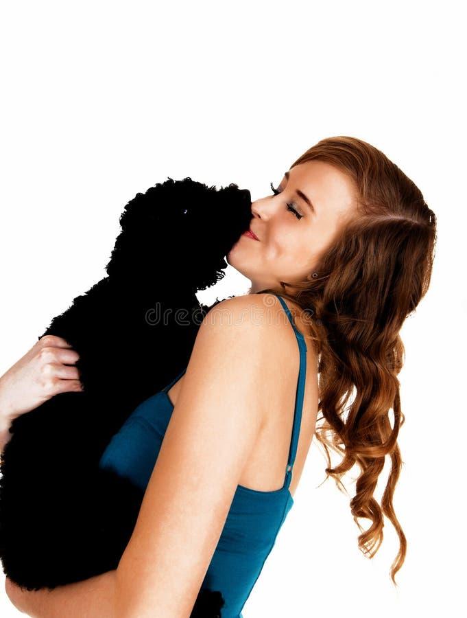 Menina com seu cão. foto de stock