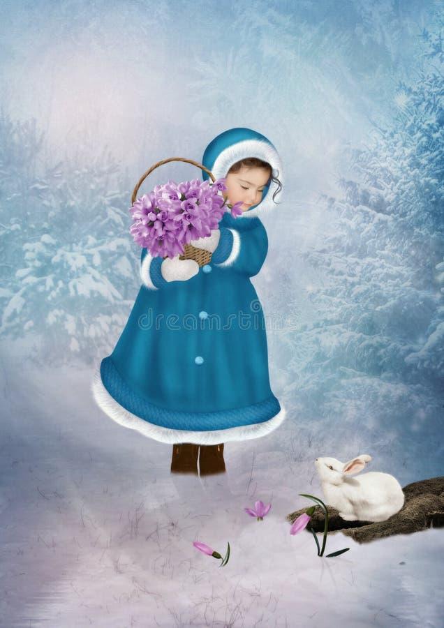 Menina com snowdrops fotos de stock
