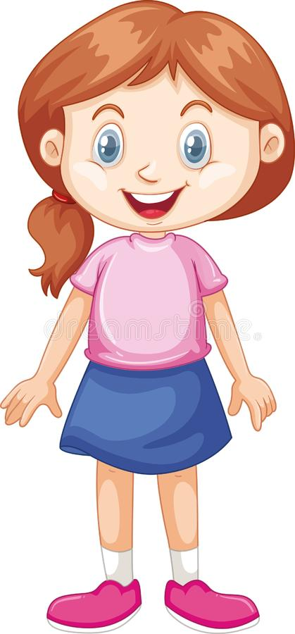 Menina com sorriso feliz no fundo branco ilustração stock
