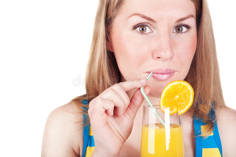 Menina com sumo de laranja imagem de stock