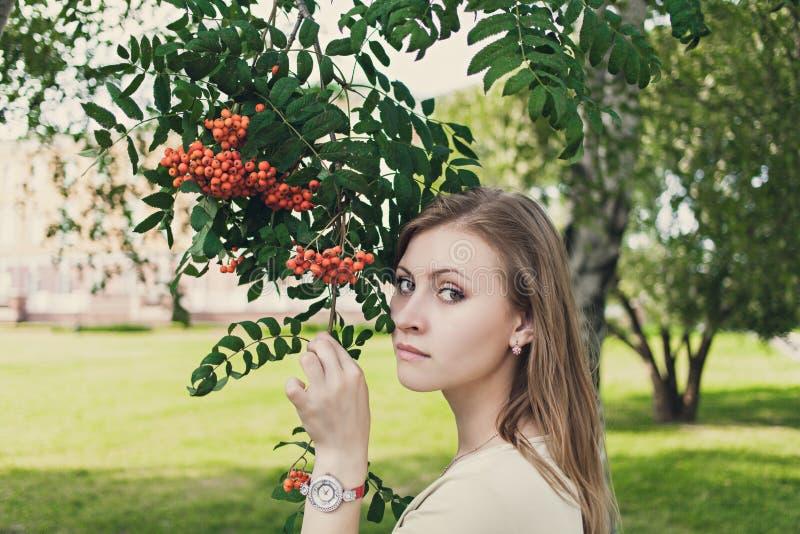 Menina com suportes de fluxo do cabelo perto de um ramo com Rowan fotografia de stock