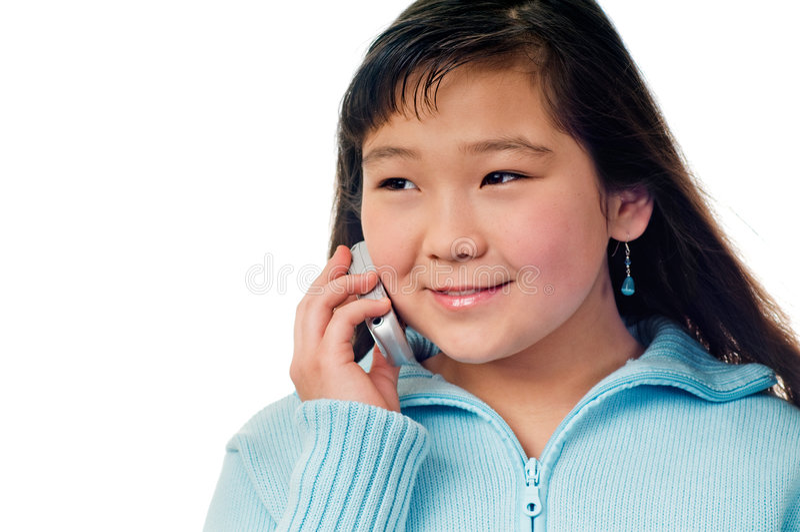 Menina com telefone. fotografia de stock