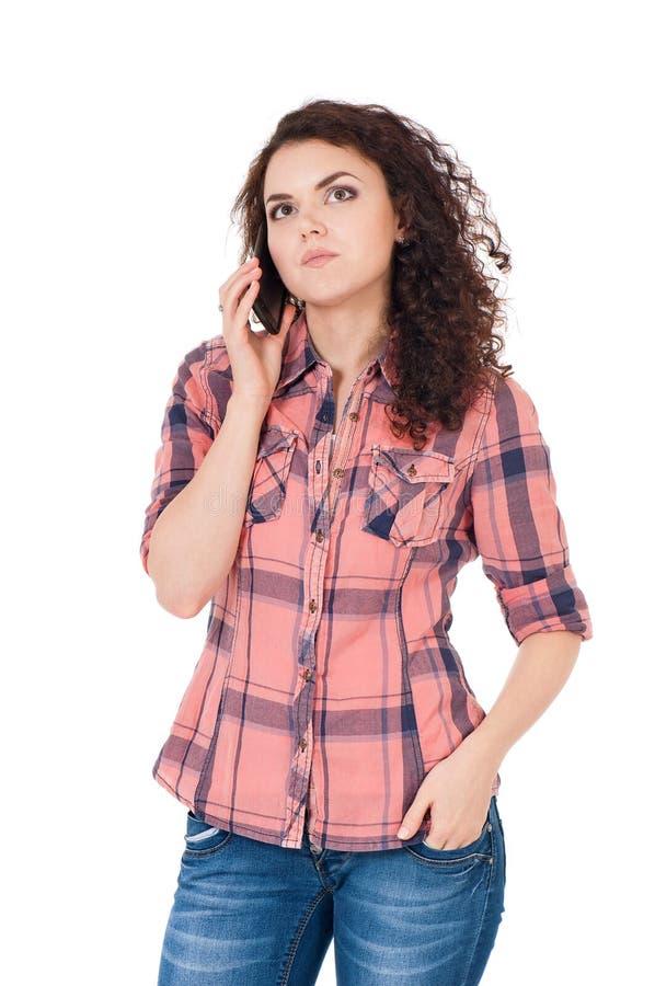 Menina com telefone celular fotografia de stock royalty free