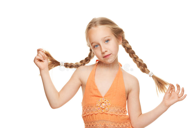 Menina com tranças laterais imagem de stock