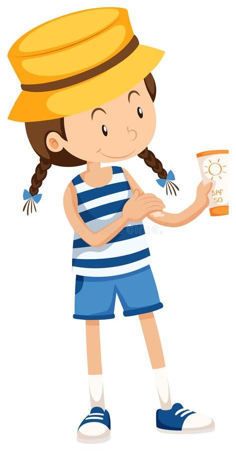 Menina com tubo do sunlotion ilustração do vetor