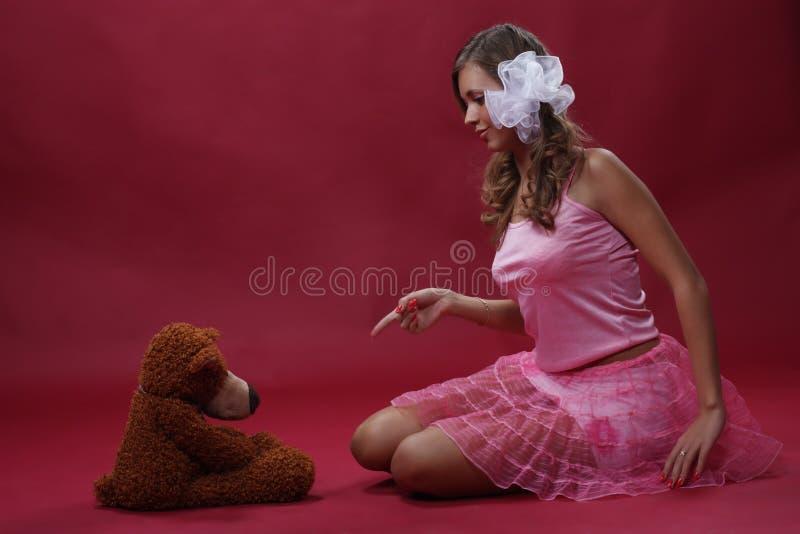 Menina com um brinquedo fotos de stock