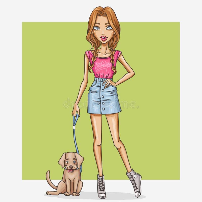 Menina com um cão ilustração do vetor
