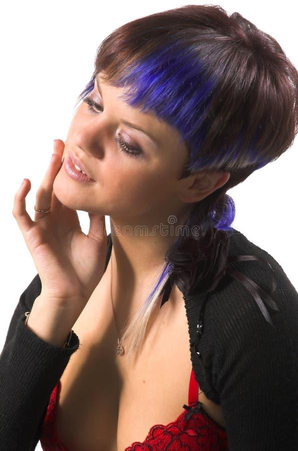A menina com um cabelo creativo fotos de stock royalty free