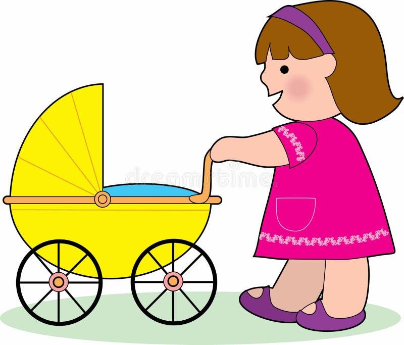 Menina com um carro de bebê ilustração do vetor