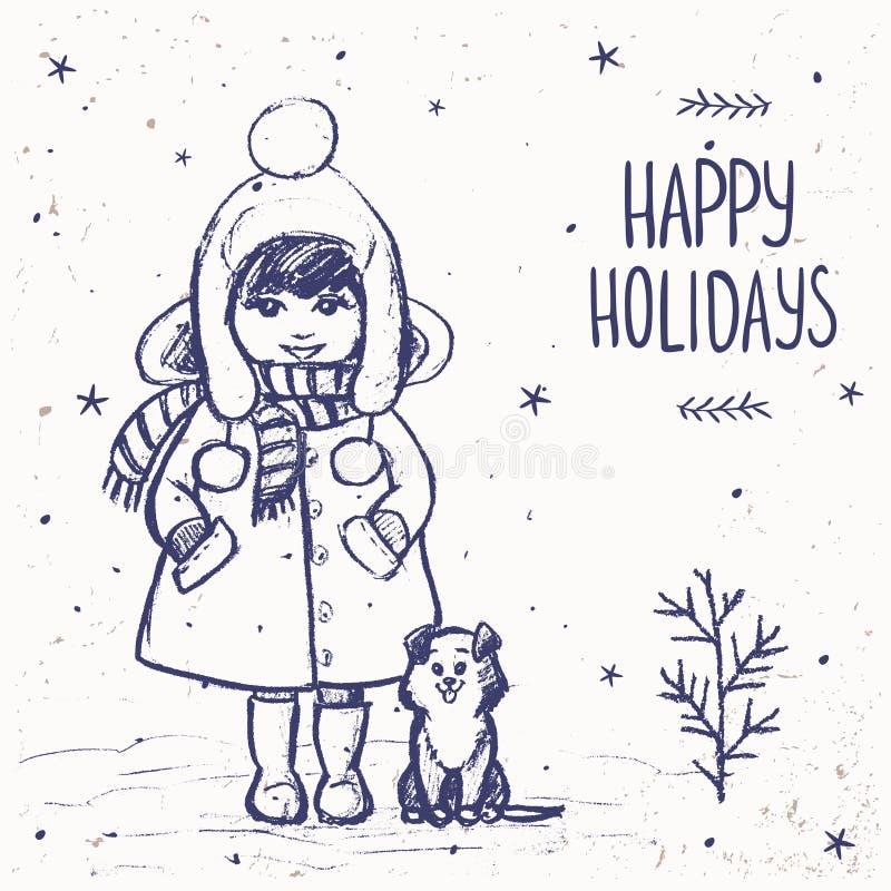 Menina com um cartão do cão ilustração royalty free