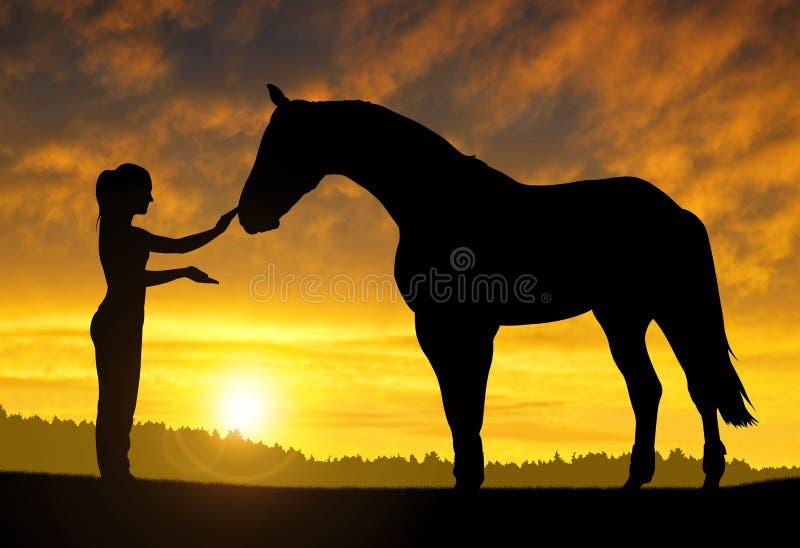 Menina com um cavalo fotos de stock royalty free
