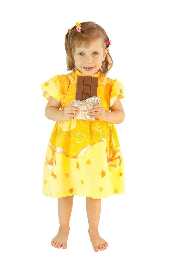 A menina com um chocolate fotografia de stock royalty free