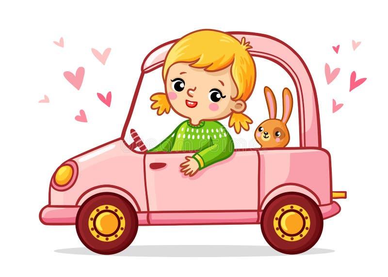 A menina com um coelho está montando um carro cor-de-rosa ilustração do vetor