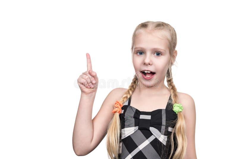 Menina com um dedo aumentado fotografia de stock