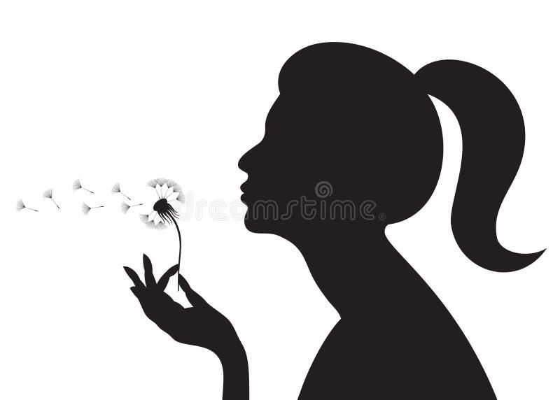 Menina com um dente-de-leão ilustração do vetor