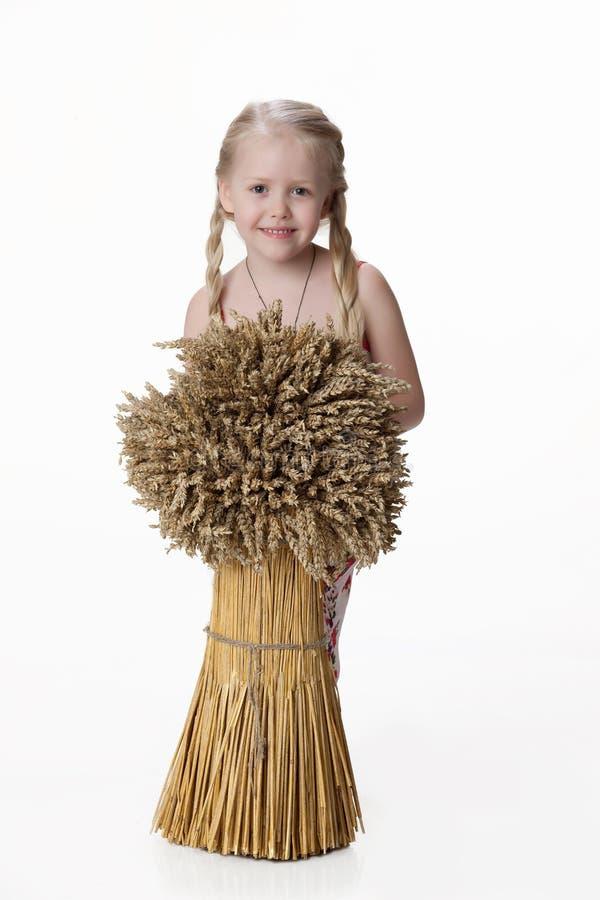 Menina com um feno fotografia de stock royalty free