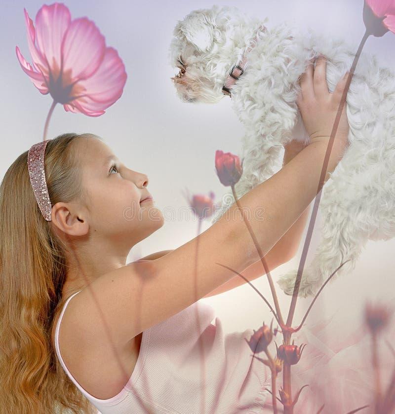 Menina com um filhote de cachorro fotos de stock