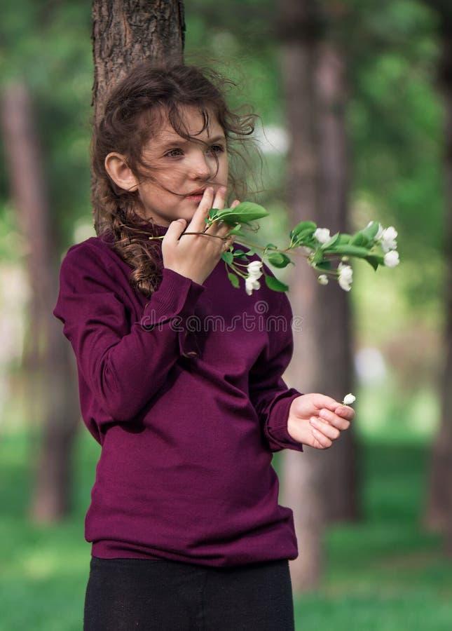 Menina com um galho de uma árvore de maçã com cabelo de fluxo imagens de stock royalty free