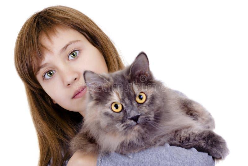 Menina com um gato imagem de stock royalty free