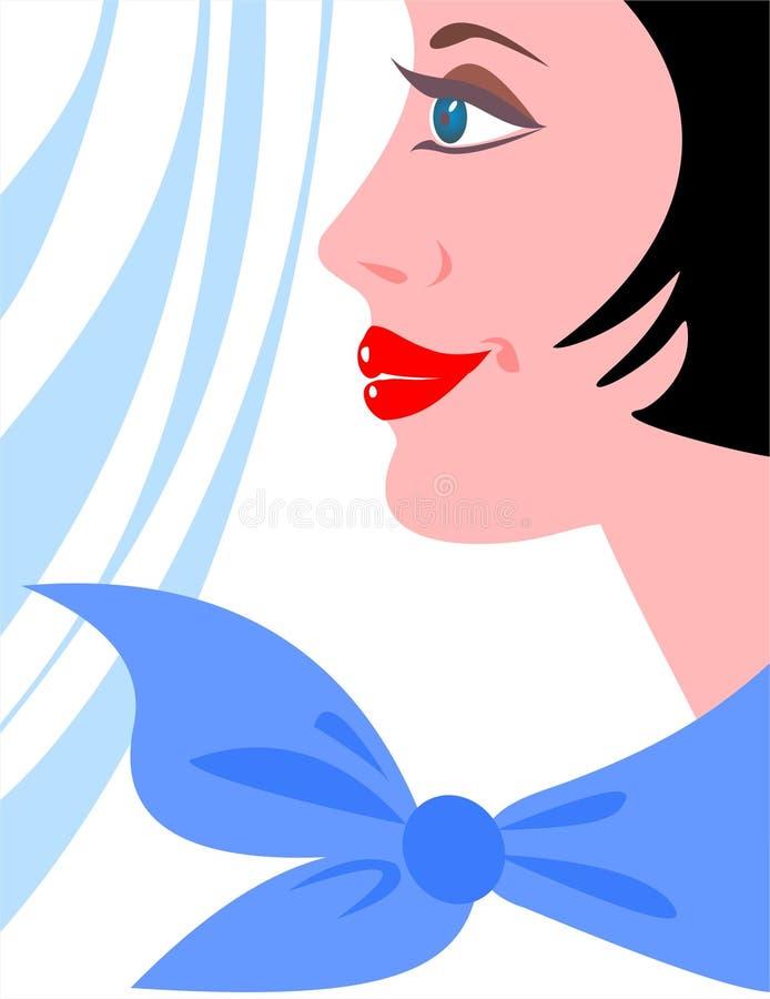Menina com um lenço ilustração royalty free