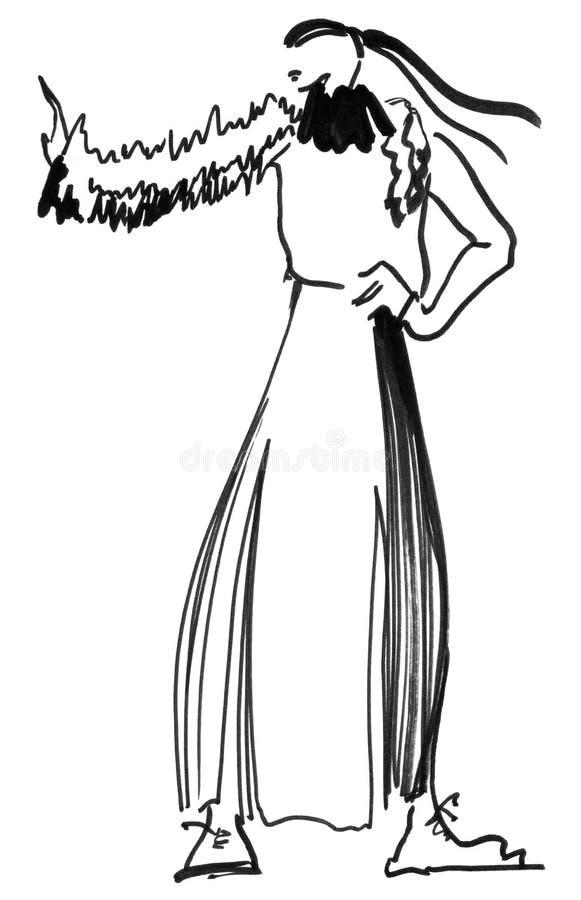 Menina com um lenço feito malha ilustração royalty free