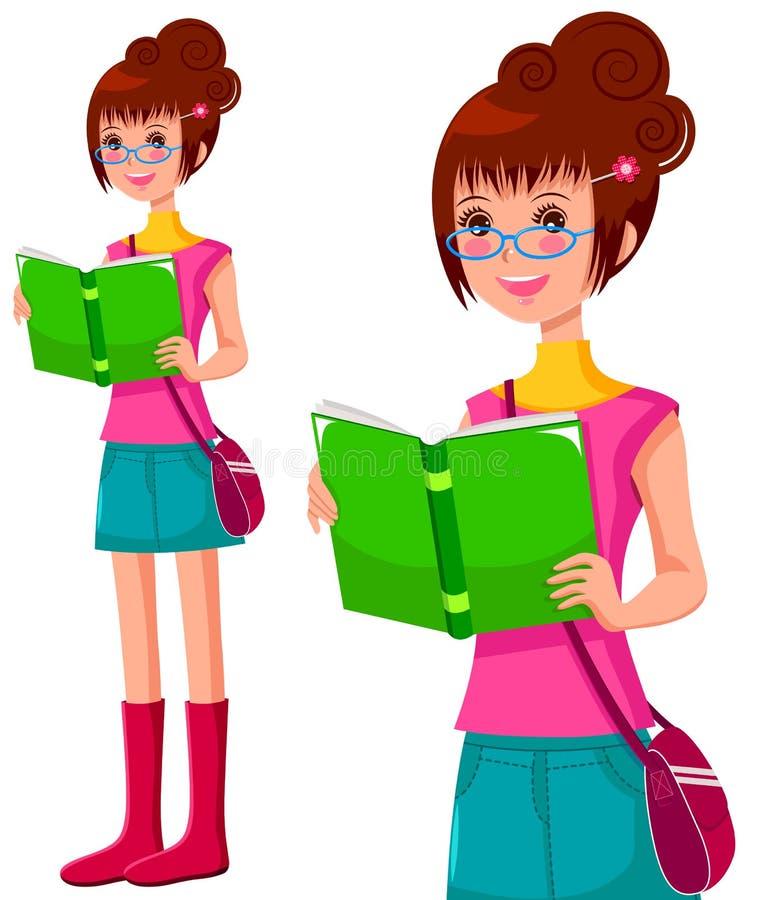 Menina com um livro ilustração do vetor