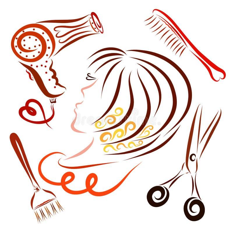 Menina com um penteado criativo e um grupo de coisas para um hairdre ilustração stock