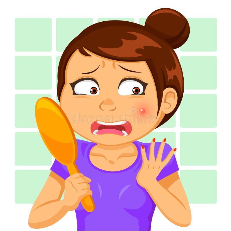 Menina com um pimple ilustração stock