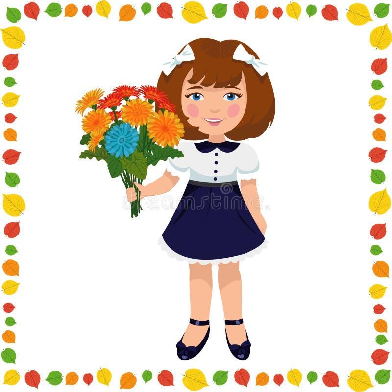 Menina com um ramalhete das flores ilustração royalty free