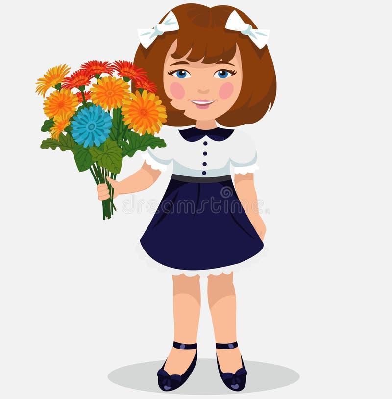Menina com um ramalhete das flores ilustração do vetor