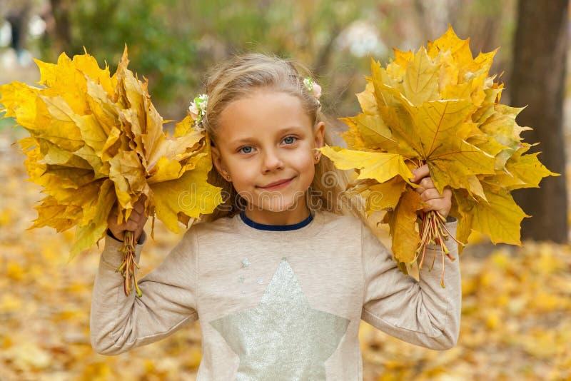Menina com um ramalhete das folhas de outono imagem de stock
