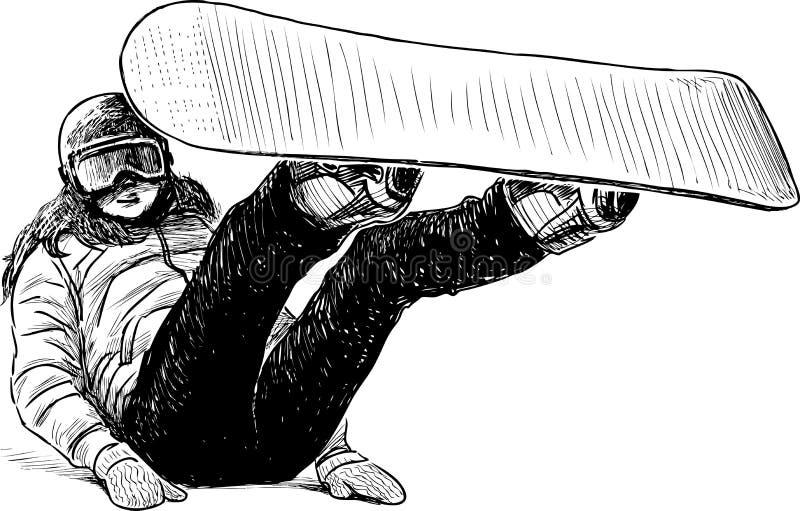 Menina com um snowboard ilustração royalty free