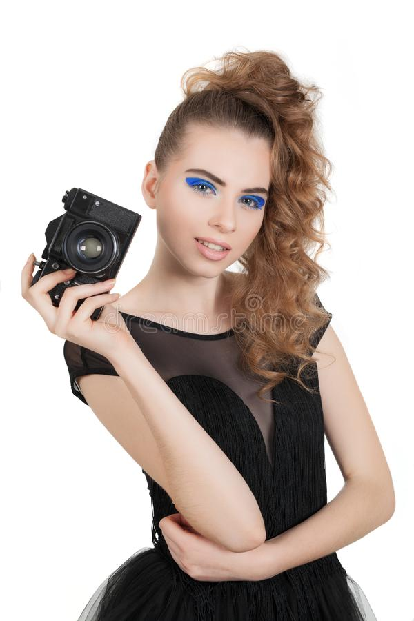 Download Menina com um telefone foto de stock. Imagem de facial - 107527970