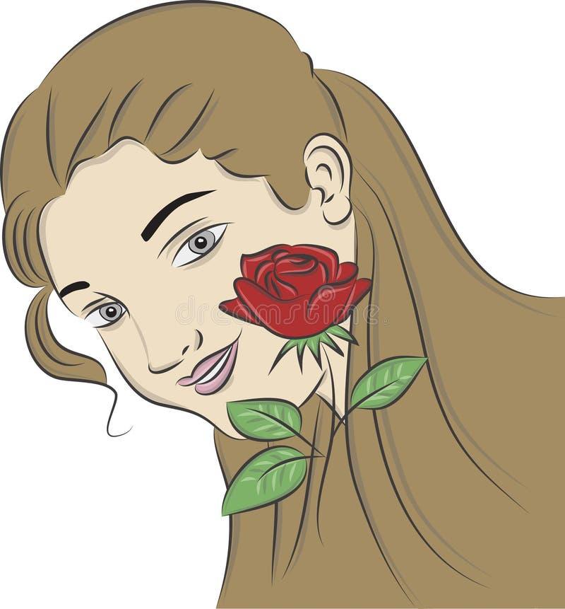 A menina com um vermelho levantou-se ilustração do vetor