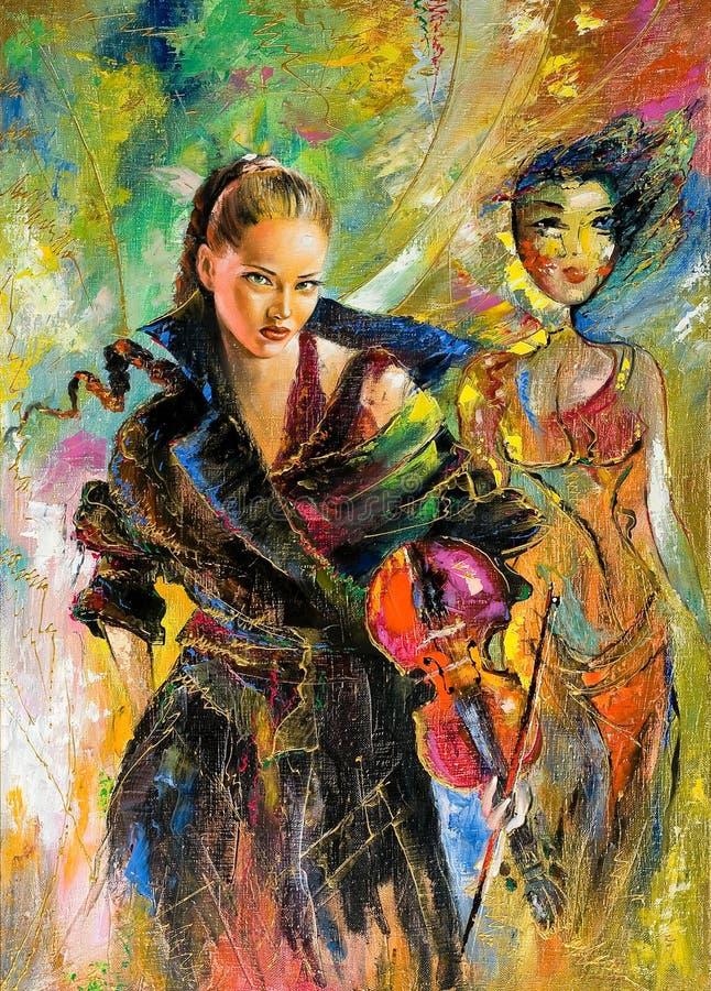 A menina com um violino ilustração stock