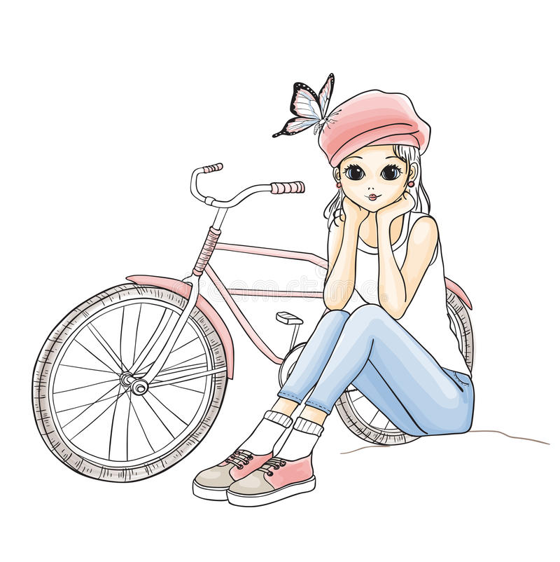 Menina com uma bicicleta ilustração royalty free