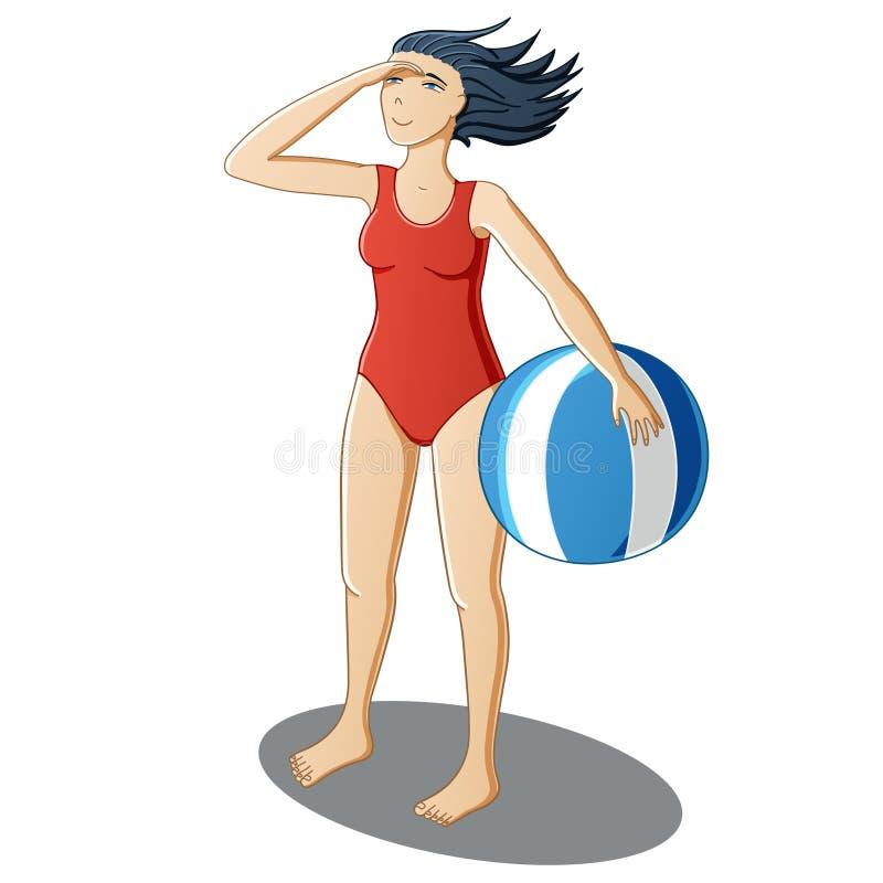 Menina com uma bola de praia ilustração do vetor
