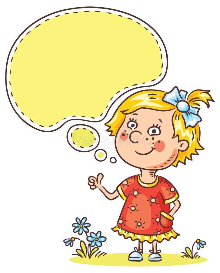 Menina com uma bolha do discurso que mostra o sinal do approvement ilustração stock