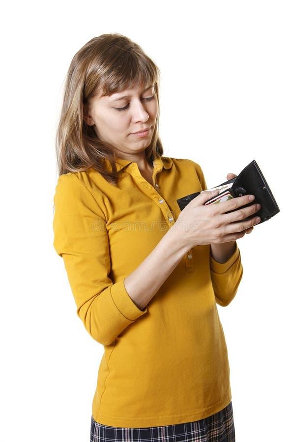A menina com uma bolsa imagem de stock