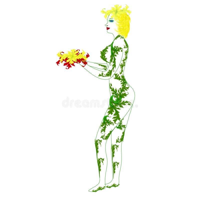 A menina com uma borboleta ilustração do vetor