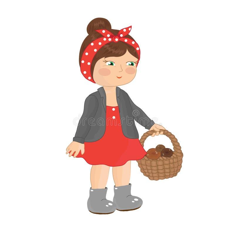 Menina com uma cesta ilustração royalty free