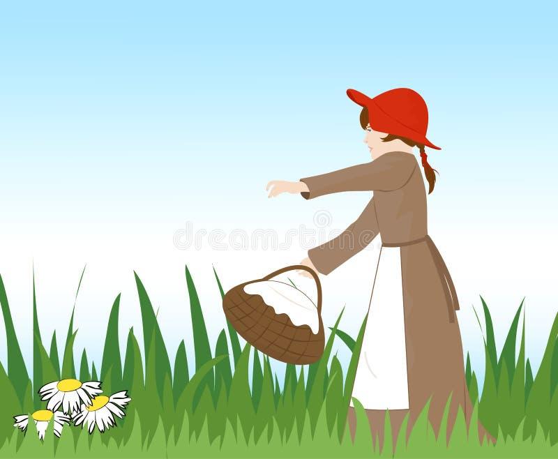 Menina com uma cesta ilustração stock