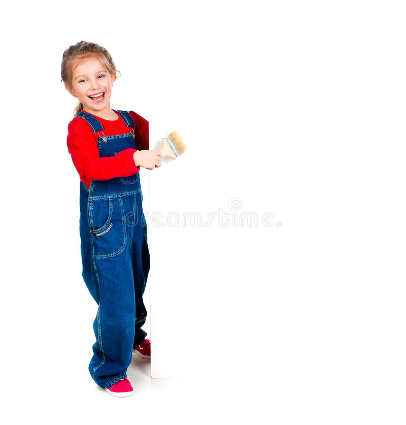 Menina com uma escova e uma bandeira branca imagem de stock