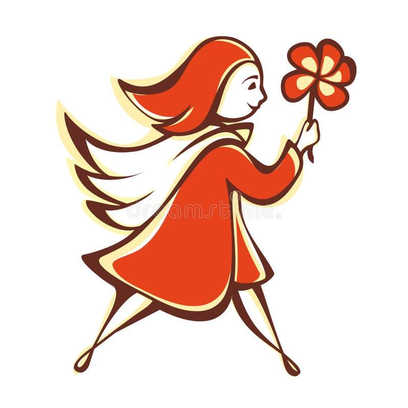 A menina com uma flor alaranjada emblema pictogram ícone ilustração stock