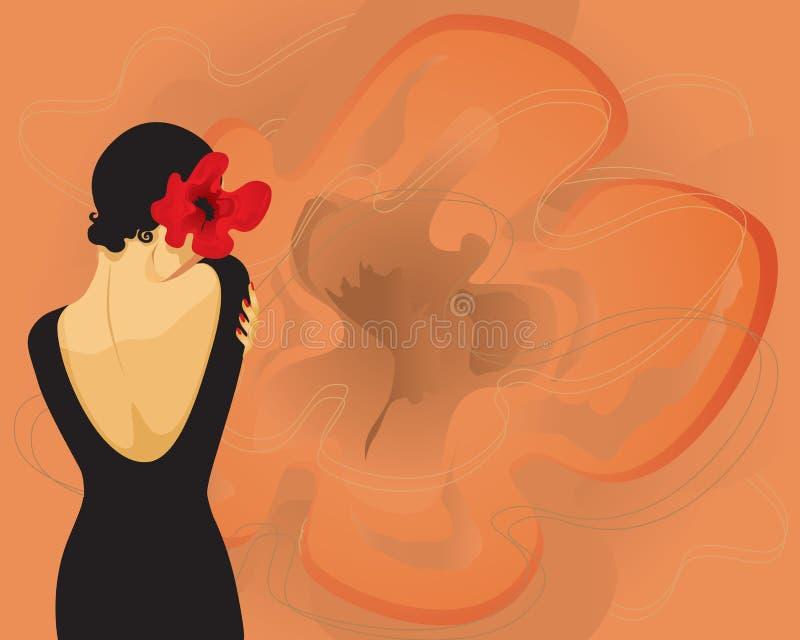Menina com uma flor (vetor) ilustração royalty free