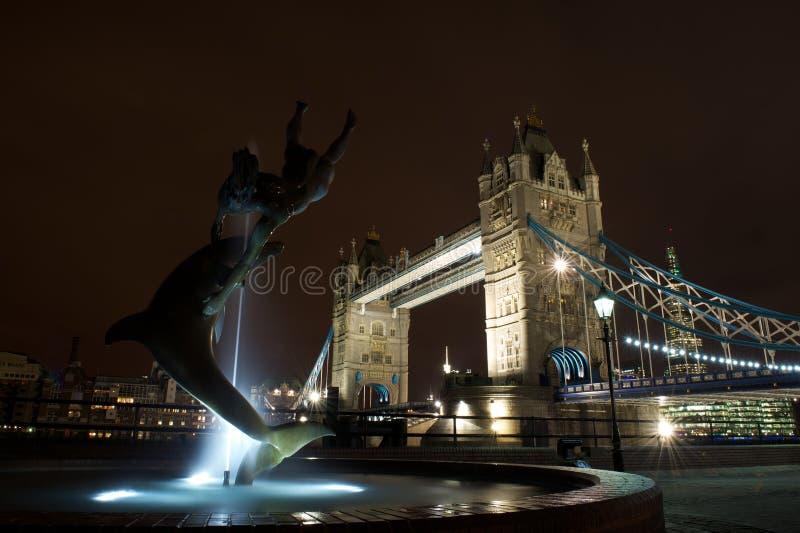 Menina com uma fonte do golfinho e uma ponte da torre, Reino Unido imagem de stock royalty free