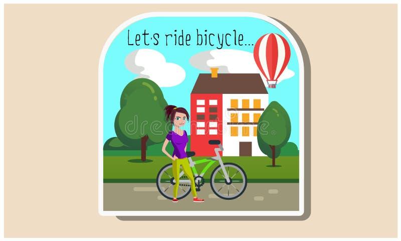 Menina com uma ilustração da bicicleta ilustração royalty free