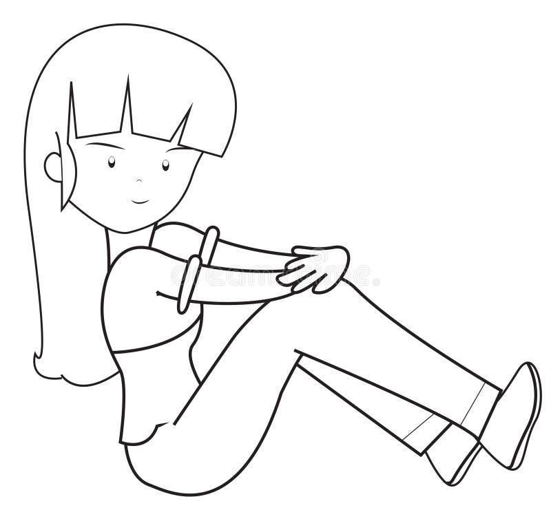 Menina com uma página longa da coloração de cabelo ilustração royalty free