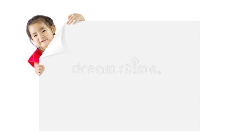 Menina com uma placa branca foto de stock