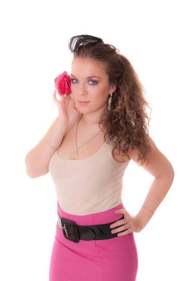 Menina com uma rosa imagens de stock royalty free
